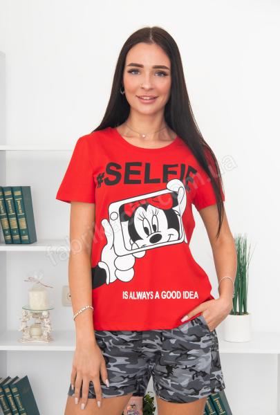 Футболка с шортами SELFIE Микки р-р: 44 - 50 цвет: красный-хаки
