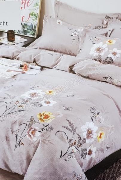 Комплект постільної білизни євро квіти 200 х 230 колір: сірий