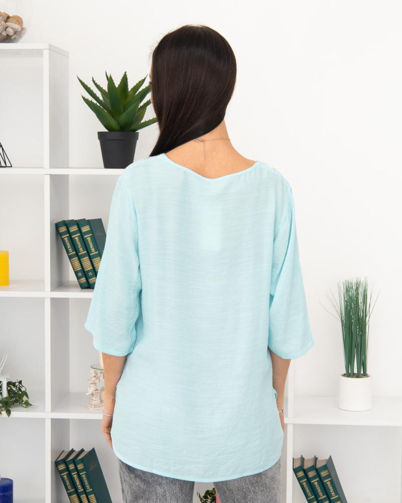 Блузка вишивка Ромашка 50 - 56, колір: бірюзовий - 4
