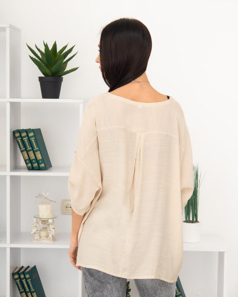 Блузка однотонна 50 - 56, колір: бежевий - 4