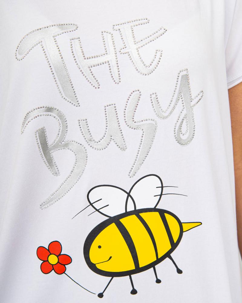 Футболка Пчелка стразы OneSize цвет: белый - 4