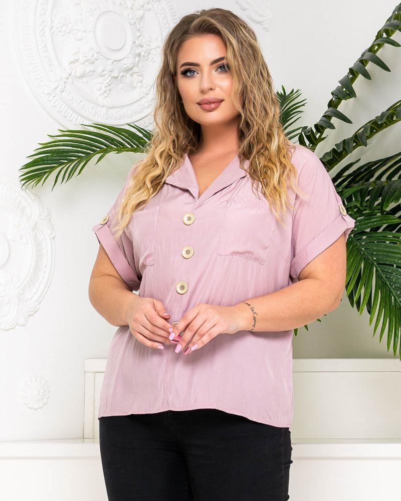 Блузка с карманами и фальш-пуговицами р-р: 50 - 54 цвет: лиловый - 3