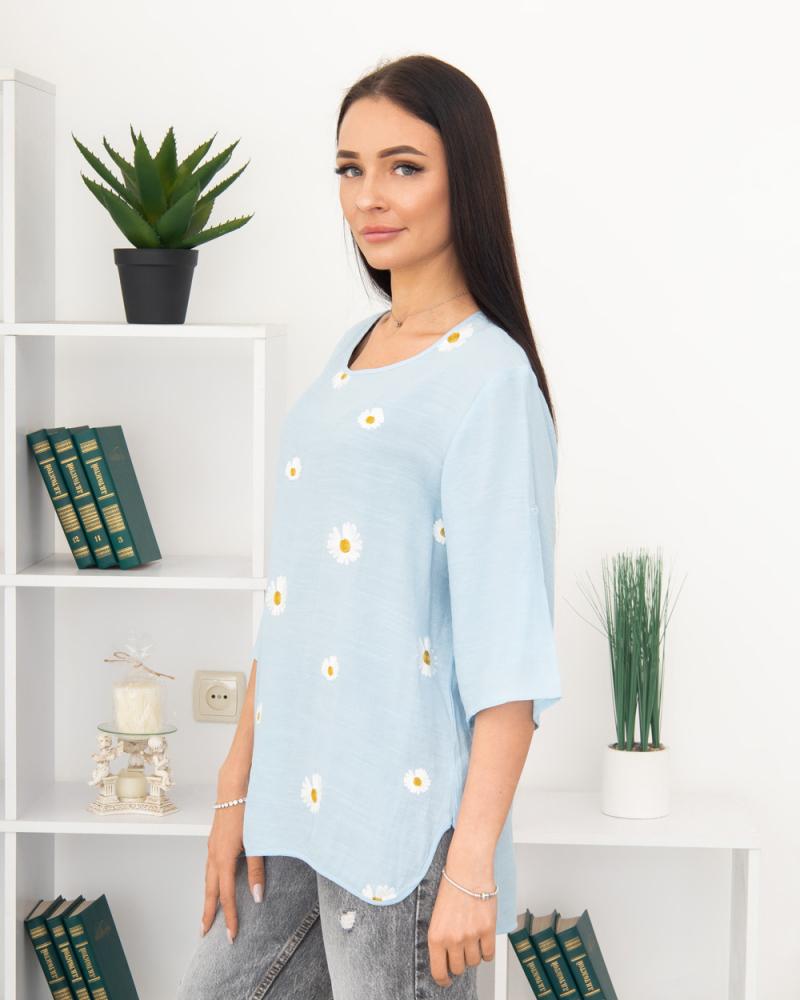 Блузка вишивка Ромашка 50 - 56, колір: блакитний - 3
