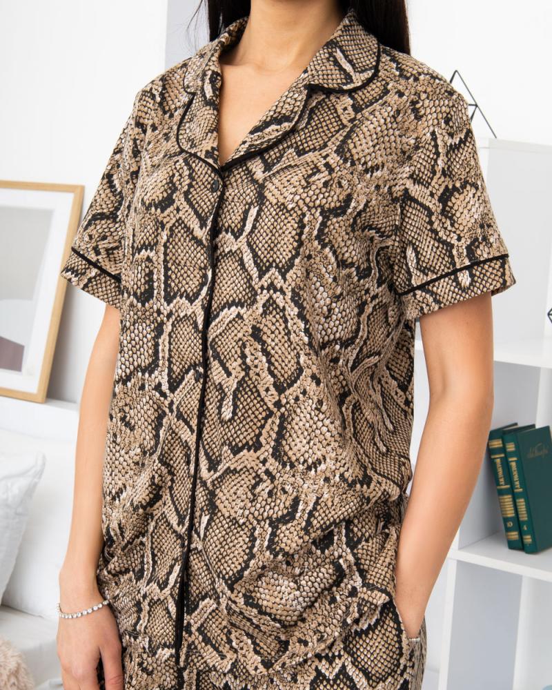 Пижама Питон рубашка с брюками р -р: 46 - 56, цвет: бежевый - 4