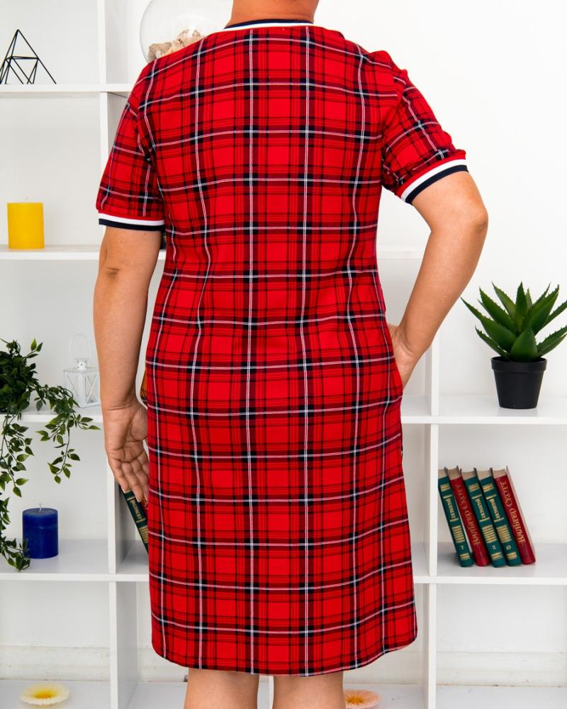 Платье клетка BEST, р-р : 46 - 56 , цвет : красный - 6