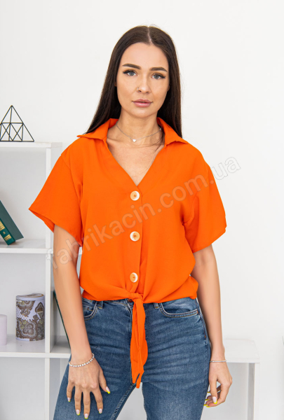 Блузка на завязке и пуговицах 44 - 50 цвет: кирпичный