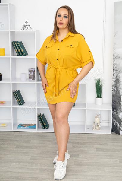 Сукня-рубашка з поясом і кишенями р-р: 50 - 54 колір: гірчичний