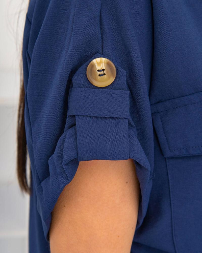 Блузка на пуговицах и завязке с карманами р-р: 50 - 54 цвет: синий - 8