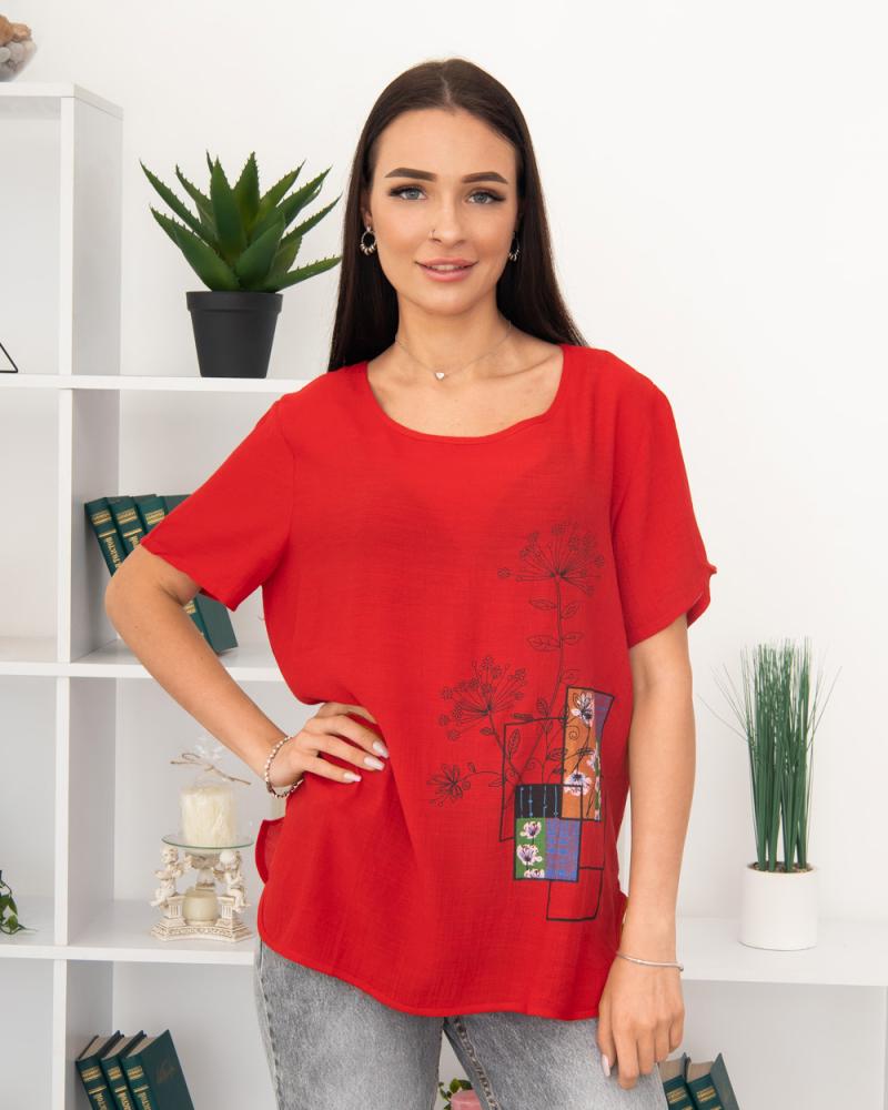 Блузка Полевые Цветы 50 - 56, цвет: красный - 2