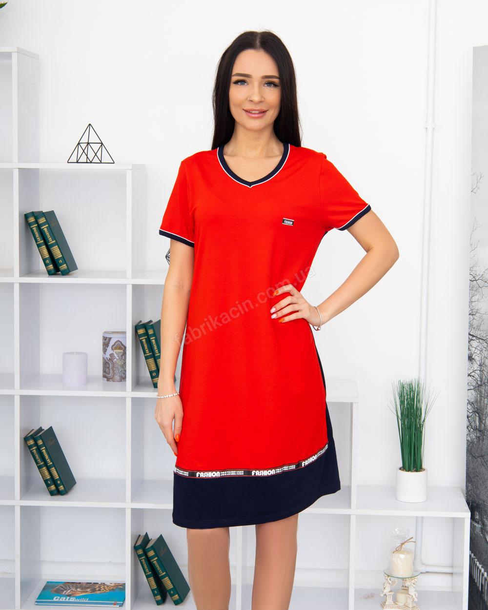 Сукня Fassion трикотажна, 100% бавовна 48 - 58, колір: червоний - 1
