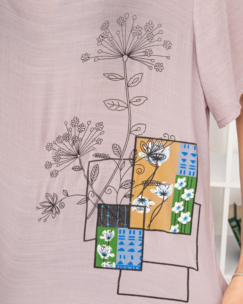 Блузка Польові Квіти 50 - 56, колір: ліловий - 5