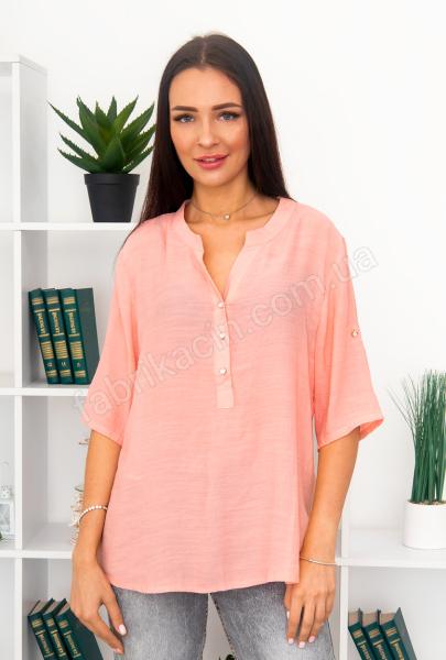 Блузка однотонная на застежке со стразами 46 - 54, цвет: розовый