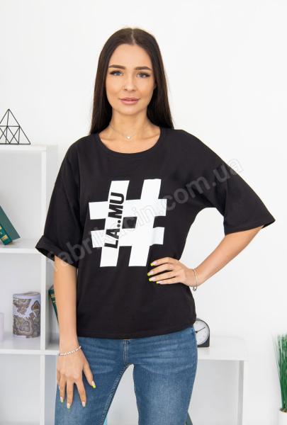 Футболка хэштег # р-р: S,M,L цвет: черный