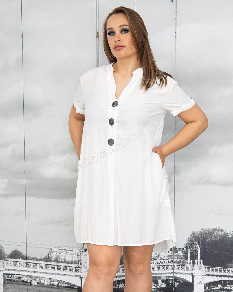 Платье-рубашка с поясом и карманами р-ры: 50 - 54 цвет: белый - 1