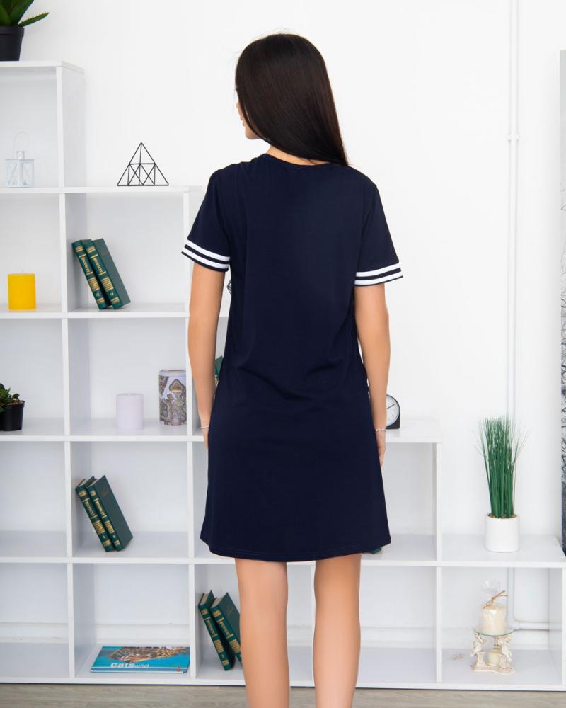 """Сукня трикотажна """"Спорт"""" три гудзика, кишеня 100% бавовна 46 - 56, колір: синiй - 3"""