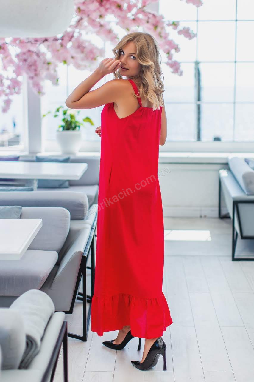 Платье 4009 верх на завязке, низ волан 1-4, цвет: красный - 1