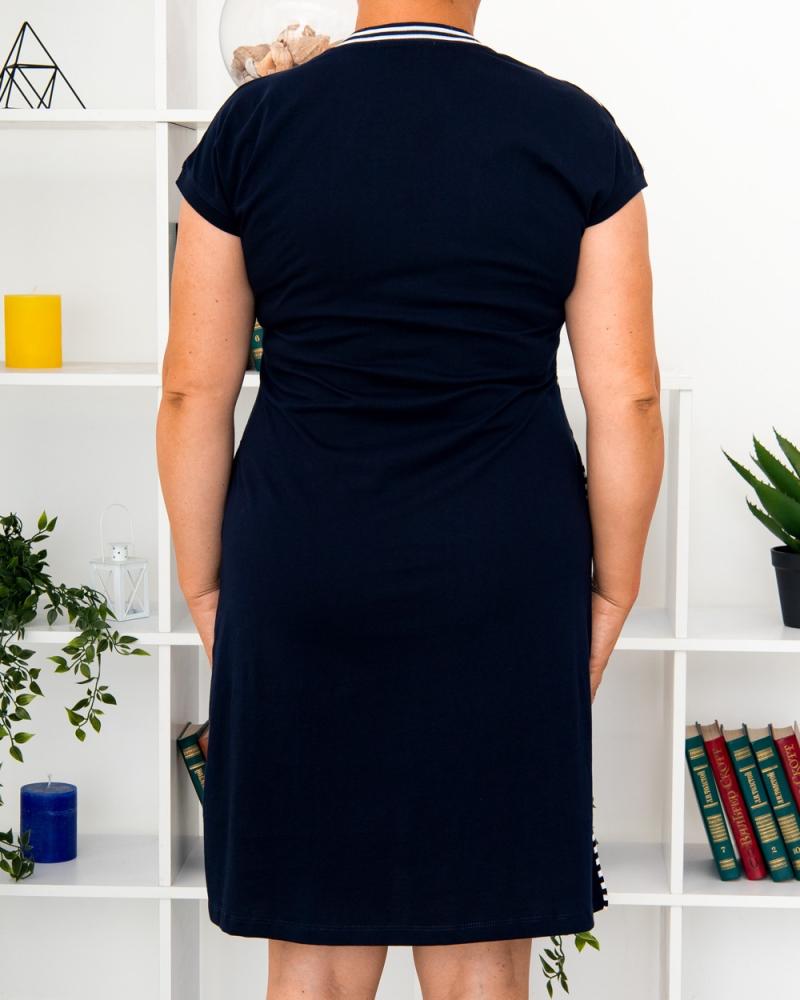 Платье полоска Message , р-р: 46- 56, цвет: синий - 6