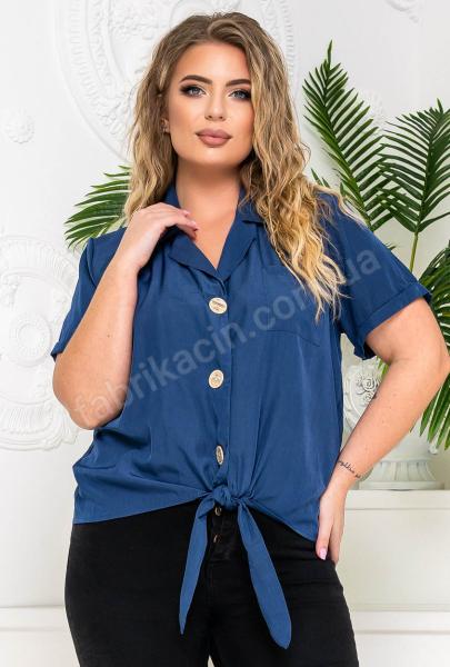 Блузка на ґудзиках і зав'язці р-р: 50 - 54 колір: синiй