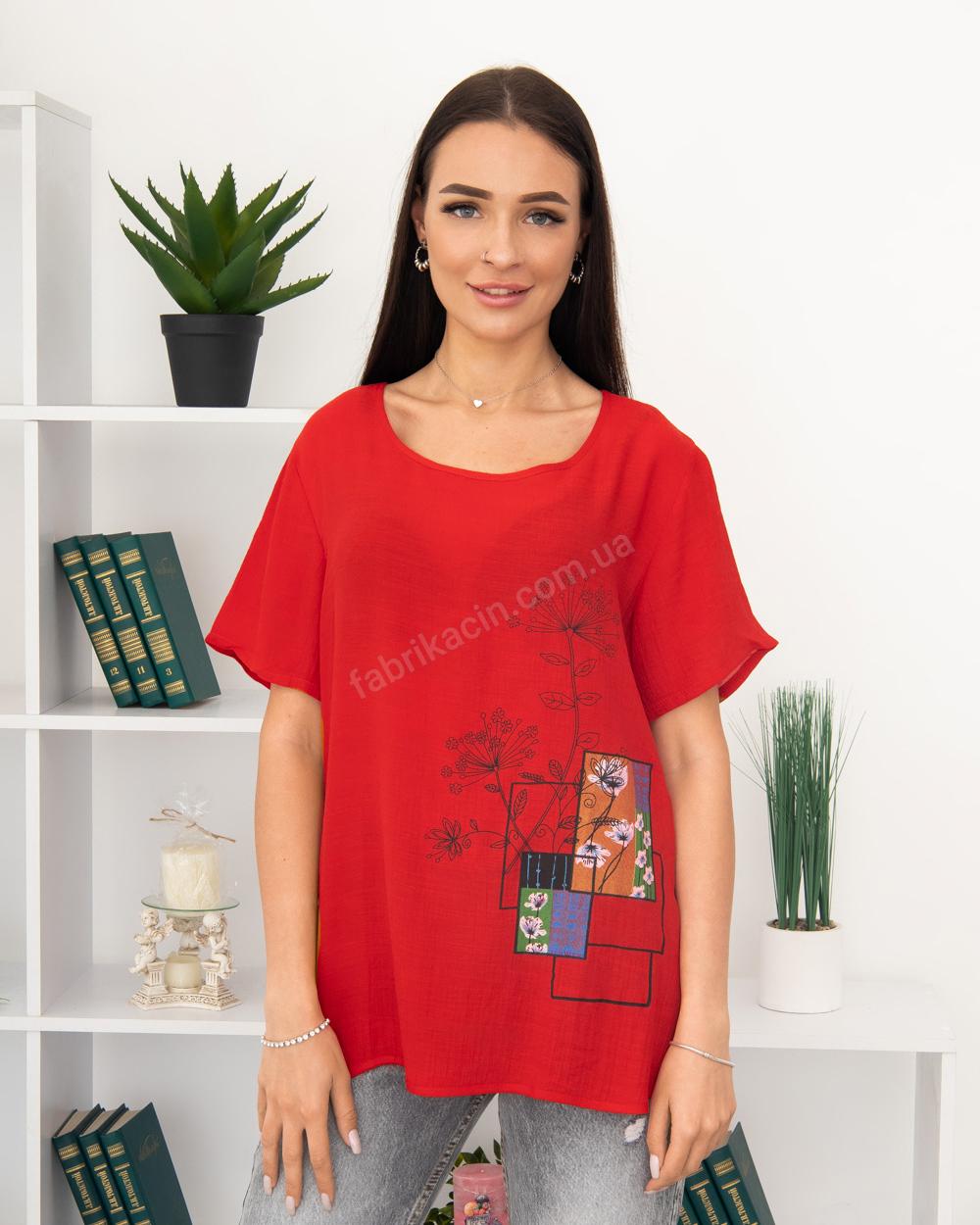 Блузка Полевые Цветы 50 - 56, цвет: красный - 1