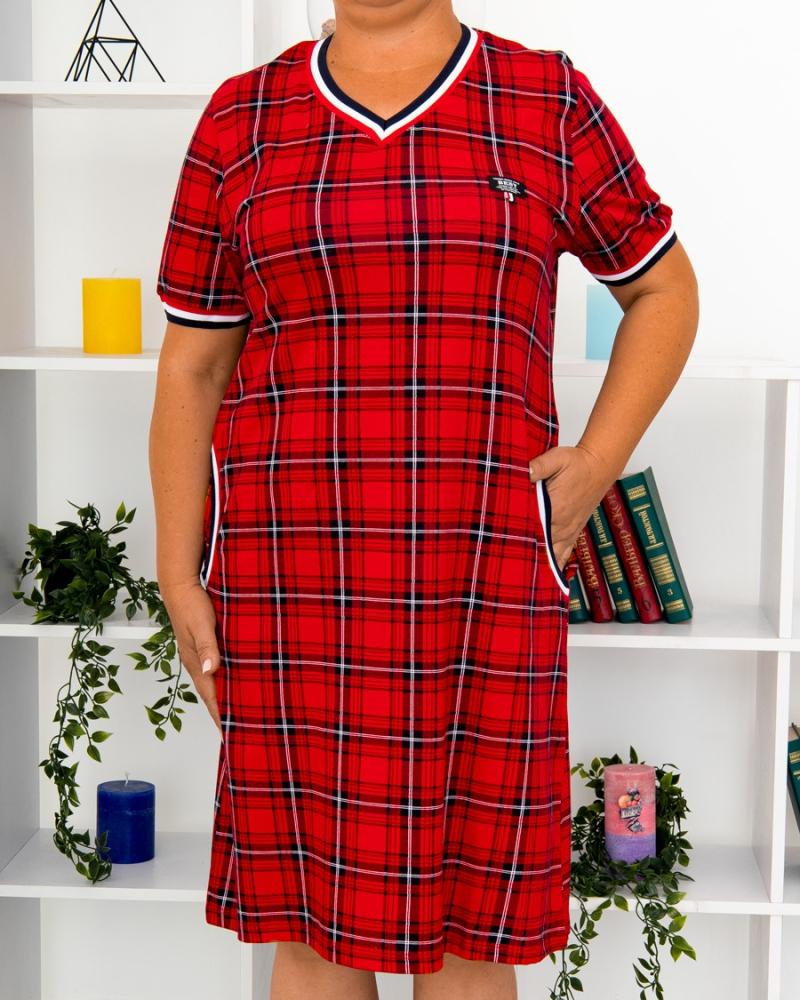 Платье клетка BEST, р-р : 46 - 56 , цвет : красный - 5
