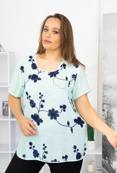 Блузка вишитые цветы 46 - 54 цвет; бирюзовый