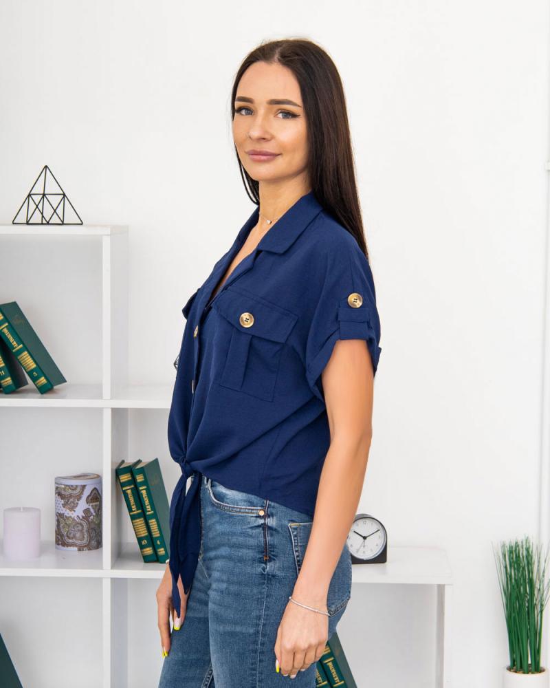 Блузка на пуговицах и завязке с карманами р-р: 50 - 54 цвет: синий - 2