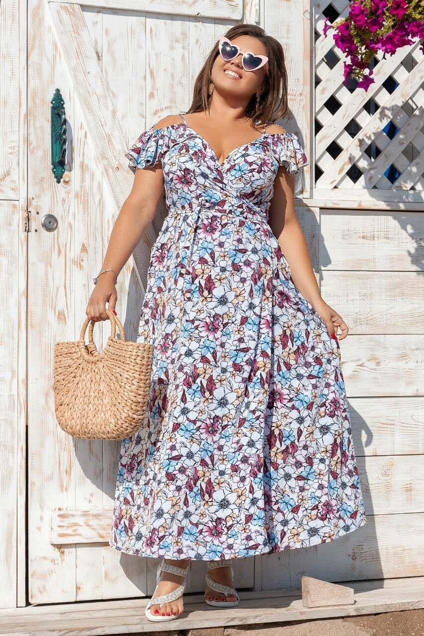 Платье 2035 длинное на запах 1-4, цвет: белый - 1
