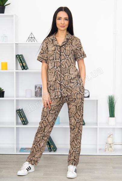 Піжама Пітон сорочка зі штанами  р-р: 46 - 56, колір: бежевий