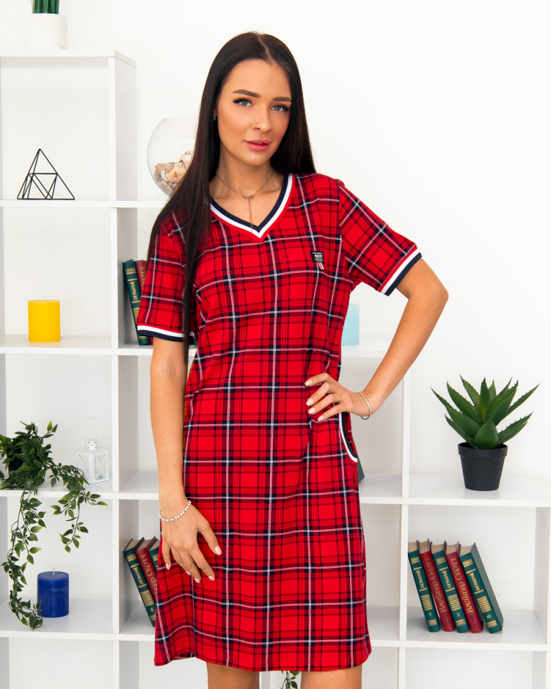 Платье клетка BEST, р-р : 46 - 56 , цвет : красный - 2