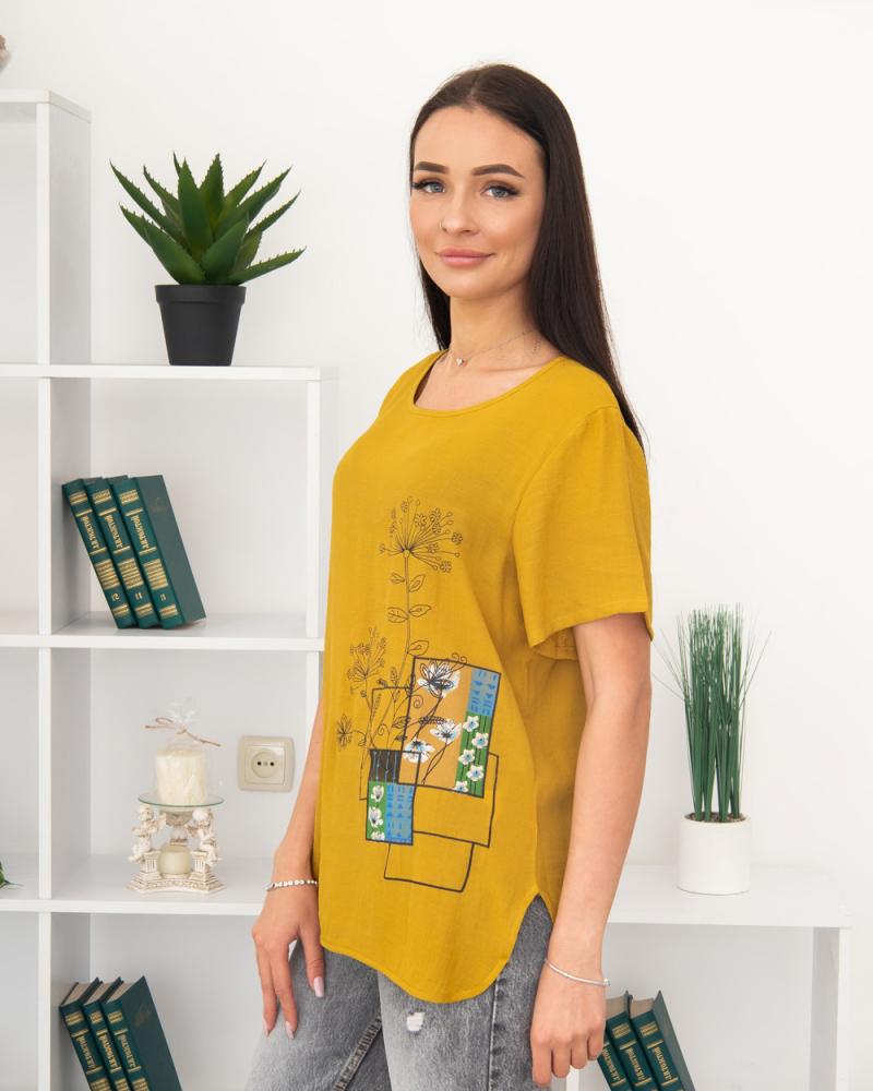 Блузка Полевые Цветы 50 - 56, цвет: горчичный - 3