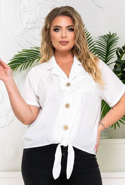 Блузка на ґудзиках і зав'язці р-р: 50 - 54 колір: білий
