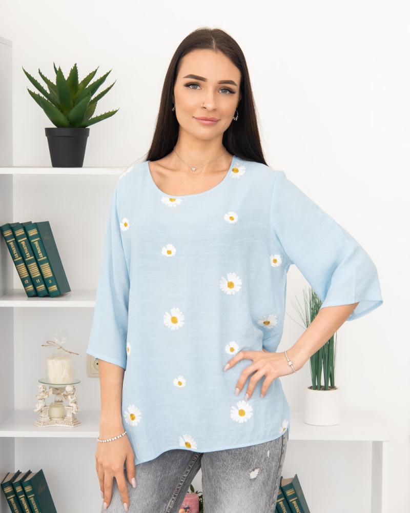 Блузка вишивка Ромашка 50 - 56, колір: блакитний - 2