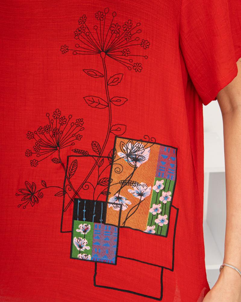 Блузка Полевые Цветы 50 - 56, цвет: красный - 5