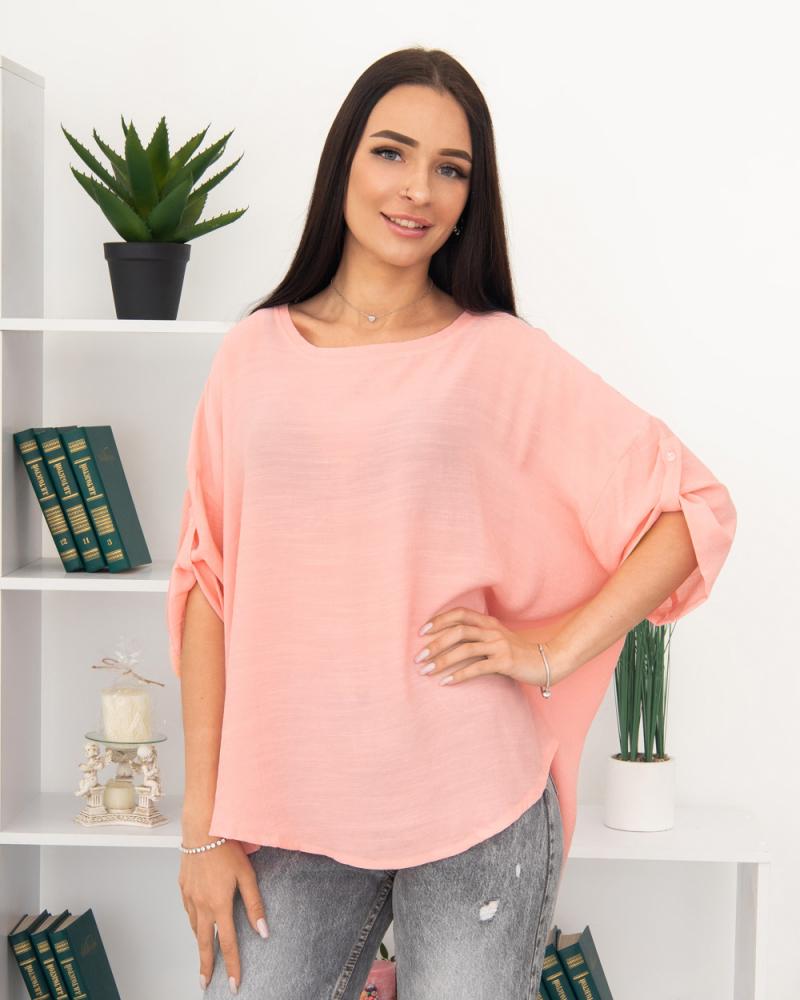 Блузка однотонная 50 - 56, цвет: розовый - 2