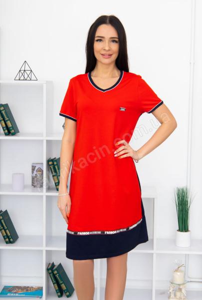Платье Fassion трикотажное, 100% хлопок 48 - 58 , цвет: красный