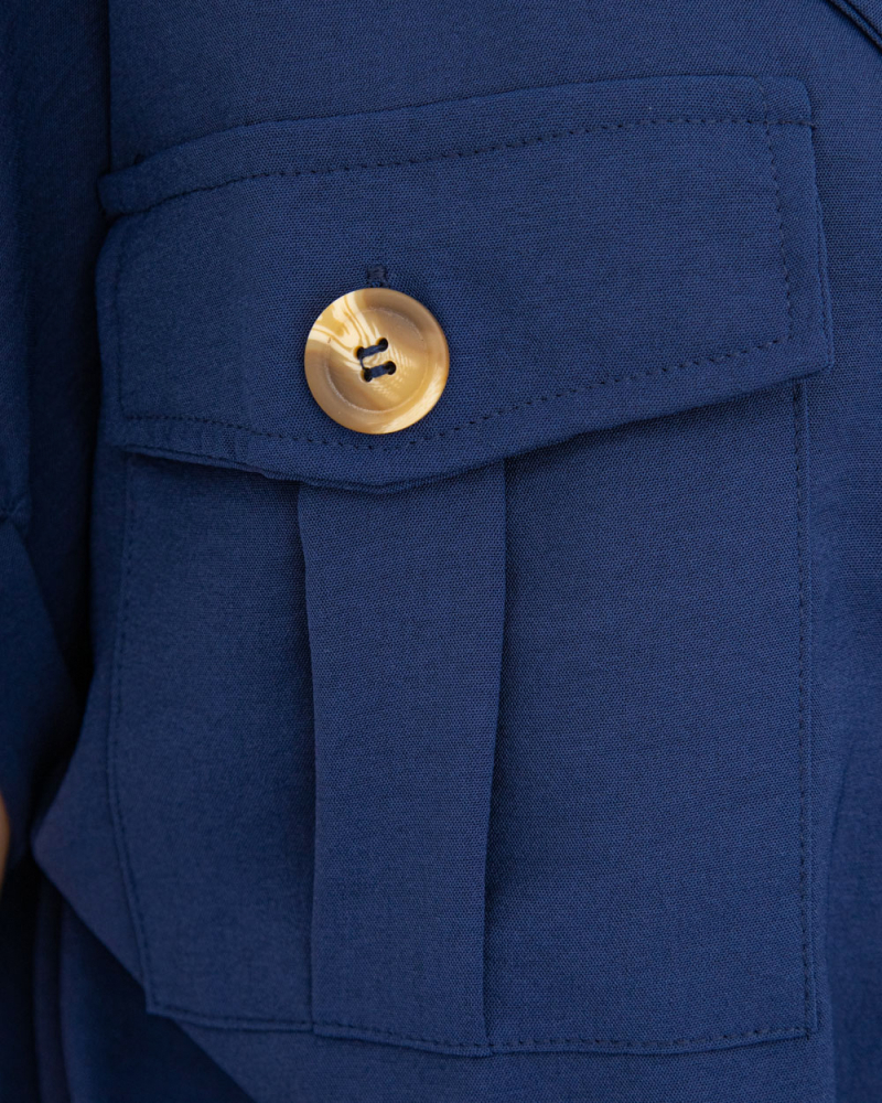 Блузка на пуговицах и завязке с карманами р-р: 50 - 54 цвет: синий - 6