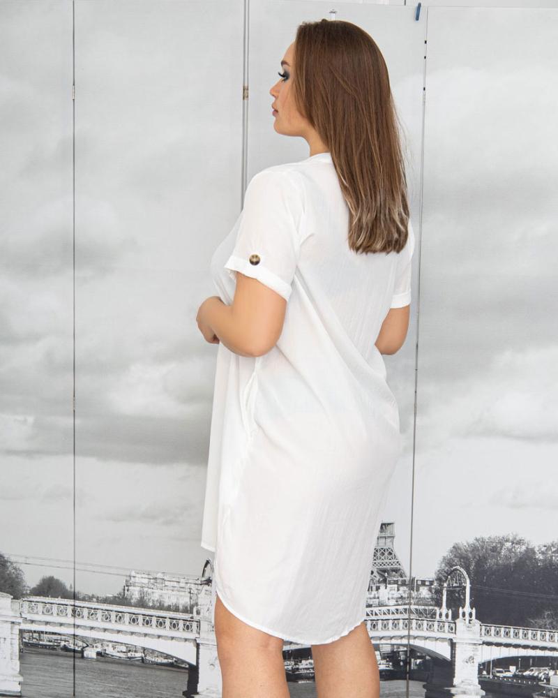 Платье-рубашка с поясом и карманами р-ры: 50 - 54 цвет: белый - 3
