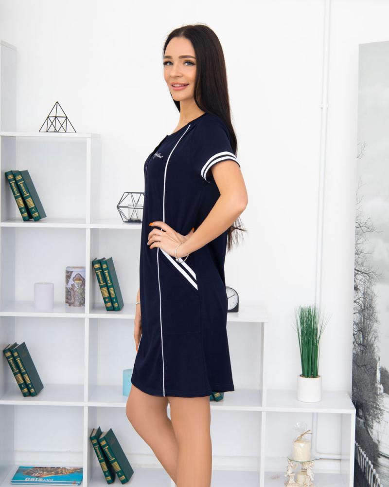 """Сукня трикотажна """"Спорт"""" три гудзика, кишеня 100% бавовна 46 - 56, колір: синiй - 2"""