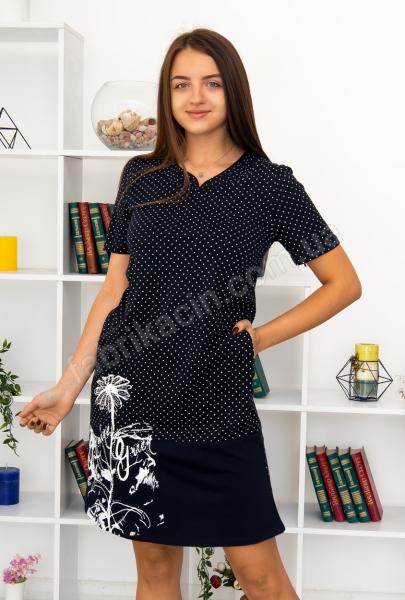 Платье в горох, стразы р-р : 46 - 56  цвет : синий
