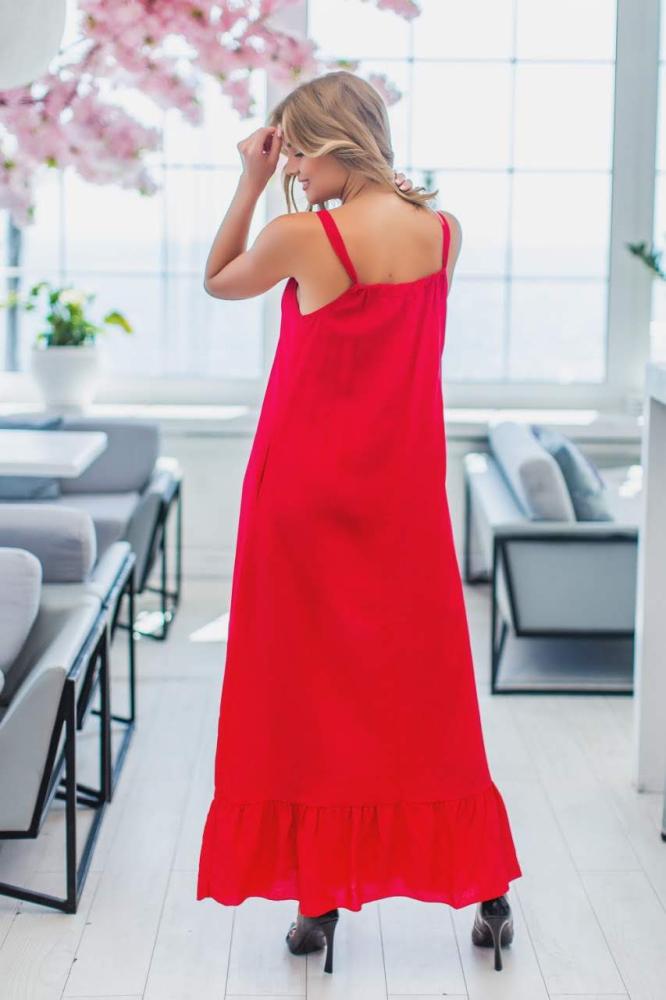 Платье 4009 верх на завязке, низ волан 1-4, цвет: красный - 3