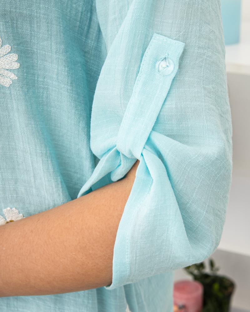 Блузка вишивка Ромашка 50 - 56, колір: бірюзовий - 5