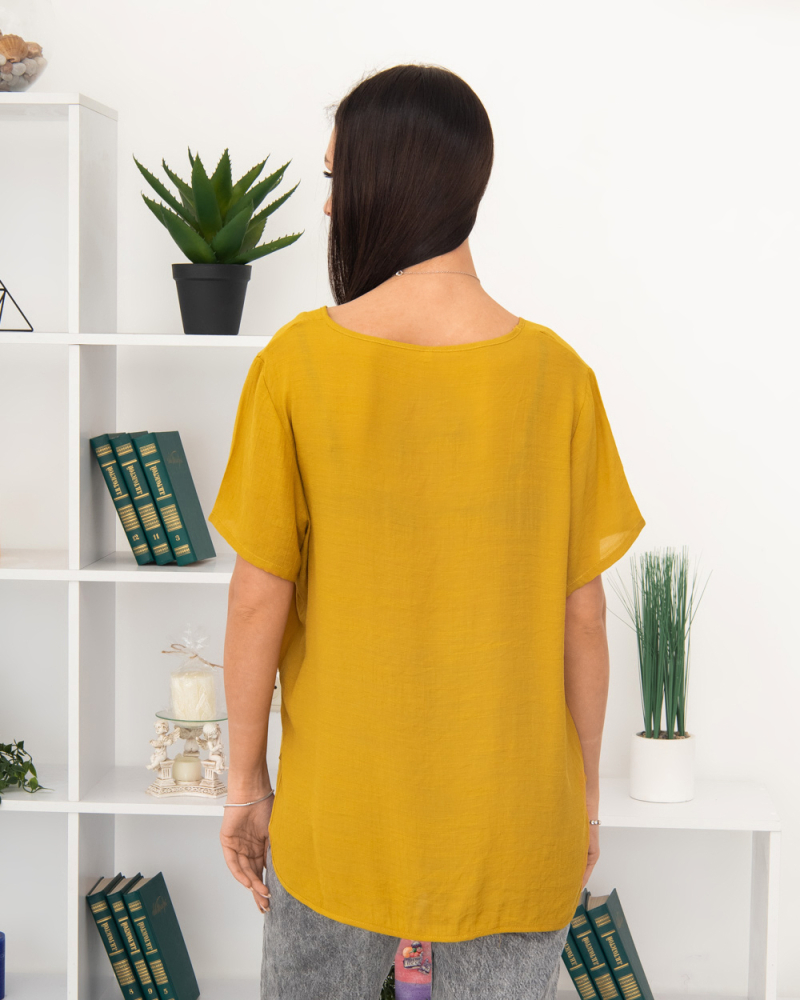 Блузка Полевые Цветы 50 - 56, цвет: горчичный - 4