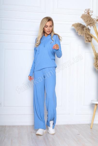 Костюм кофта зі штанами в рубчик 46 - 48 р-р колір: блакитний