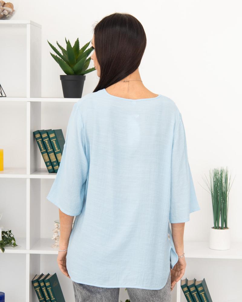 Блузка вишивка Ромашка 50 - 56, колір: блакитний - 4