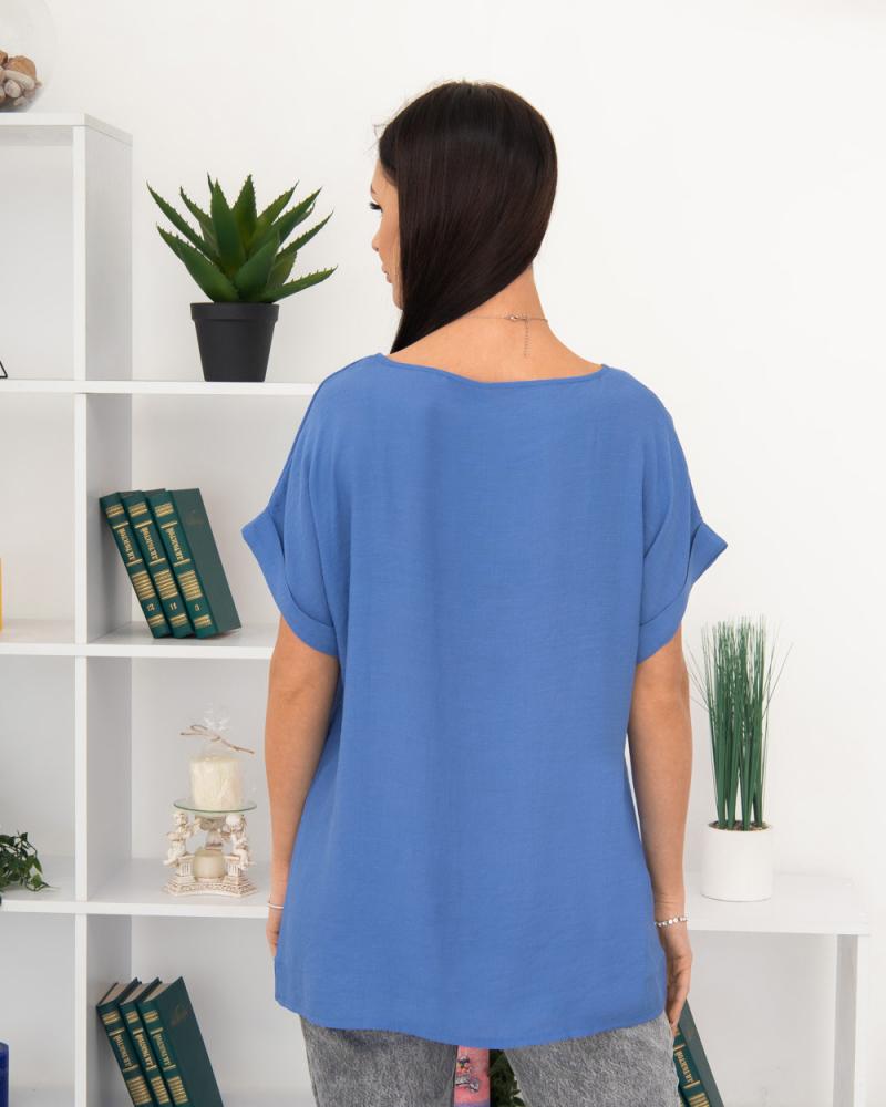 Блузка однотонна LOVE 50 - 56, колір: синiй - 4