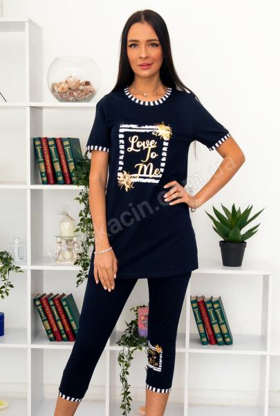 Піжама з надписом Love To Me футболка + бріджи, р-р : 44 - 54 колір: синій