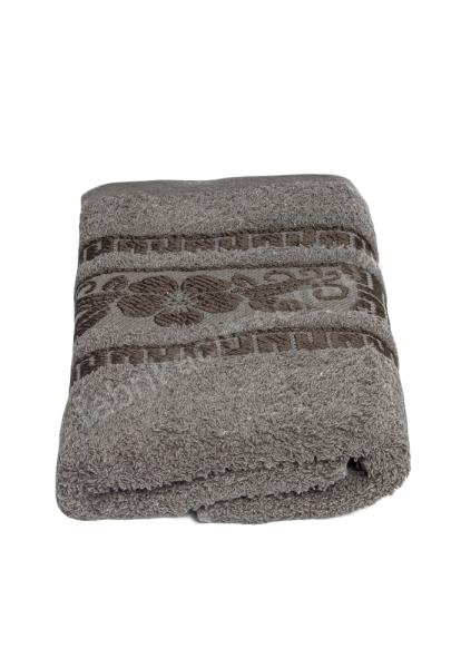 Полотенце махровое орнамент греческий 70 х 140; цвет: серый