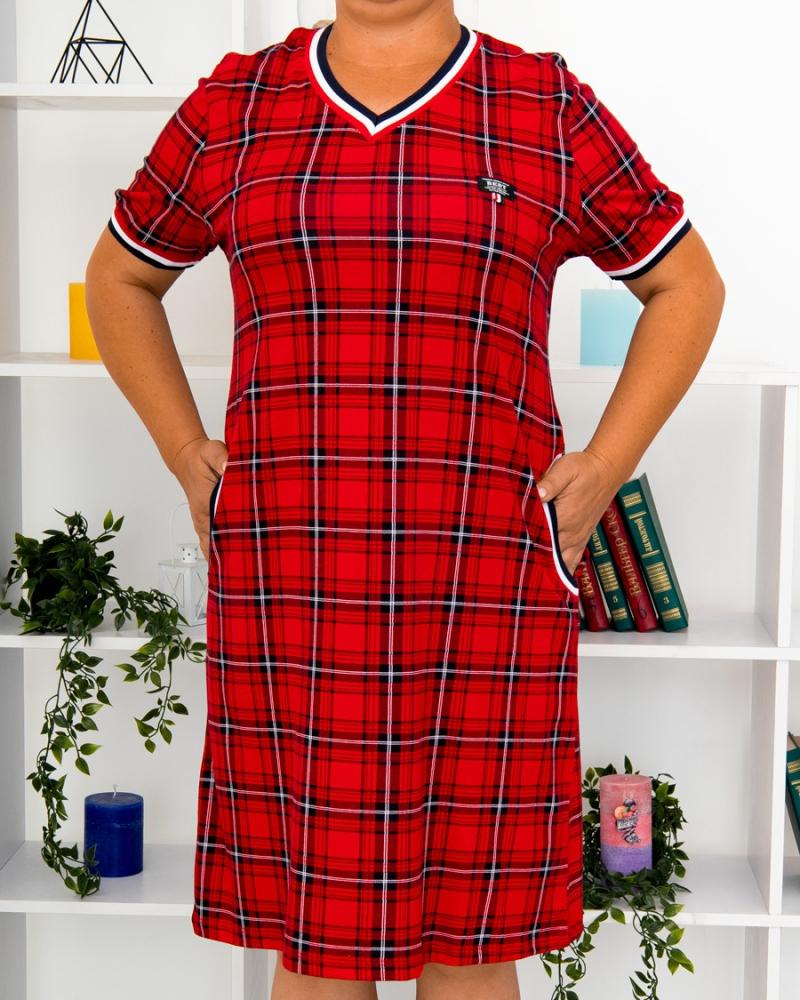 Платье клетка BEST, р-р : 46 - 56 , цвет : красный - 4