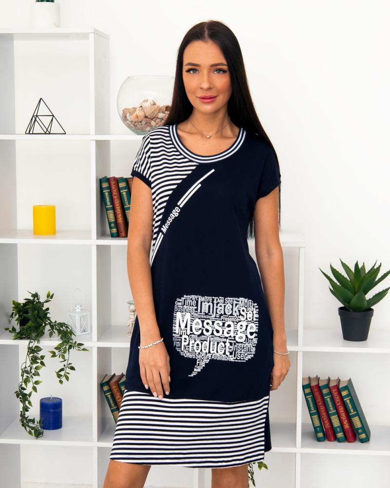 Платье полоска Message , р-р: 46- 56, цвет: синий - 2