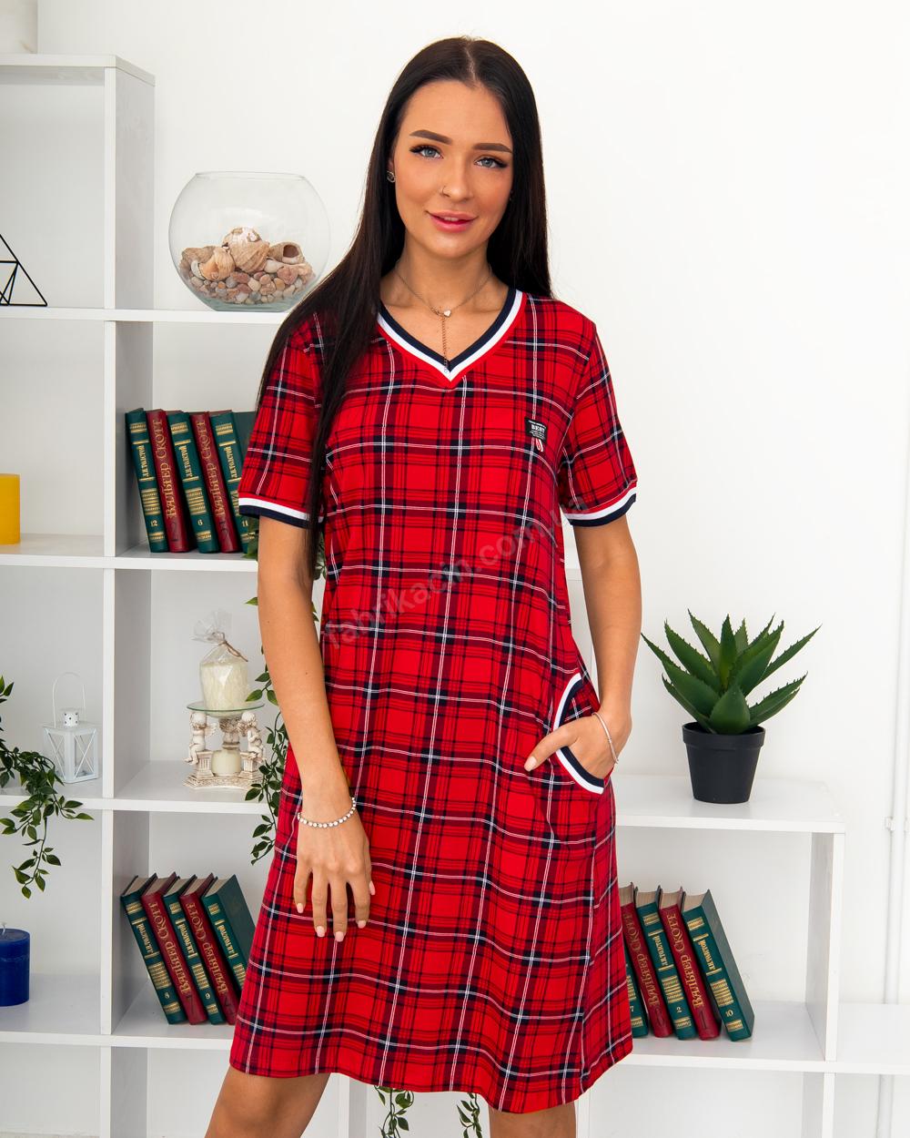 Платье клетка BEST, р-р : 46 - 56 , цвет : красный - 1